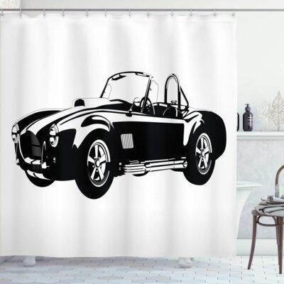 Ambesonne Vintage Classic Car Silhouette Shower Curtain S...