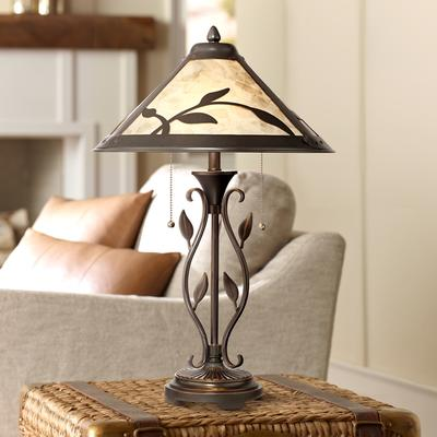 Franklin Feuille Table Lamp with Mica Shade