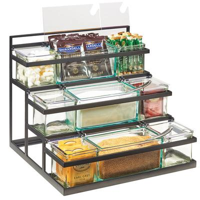 CAL-MIL 3603-13 3-Step Black Coffee Condiment Station wit...