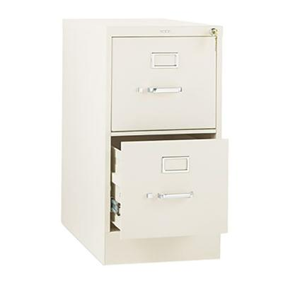 "HON PP 2 Drawer Vertical File Cabinet With Lock, Letter Size, 310 Series, 26-1/2"""" Deep, Black"