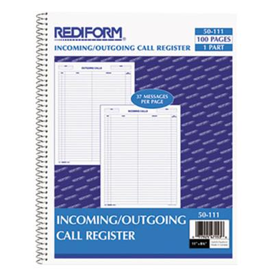 "Rediform 50111 11"" x 8 1/2"" Wirebound Call Register with ..."