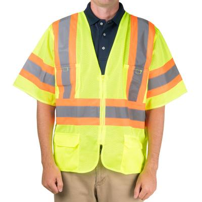 Lime Class 3 Mesh High Visibility Safety Vest with Two-To...