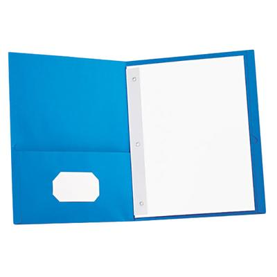 "Universal UNV57115 11"" x 8 1/2"" Light Blue Two Pocket Pap..."