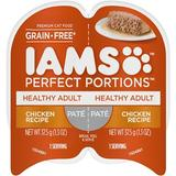 Iams Perfect Portions Healthy Adult Chicken Recipe Pate Grain-Free Cat Food Trays, 2.6-oz, case of 24 twin-packs | White Wine Red