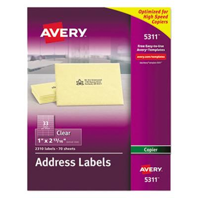 "Avery 5311 Easy Peel 1"" x 2 13/16"" Clear Copier Mailing A..."
