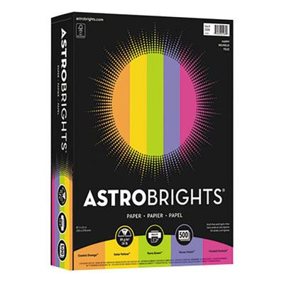 "Astrobrights 21289 8 1/2"" x 11"" Assorted Happy Color Ream..."