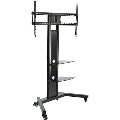 Displays2go Universal Pedestal TV Stand with (2) Tempered...