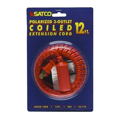 SATCO 93174 - 12' Red Coiled Extension Cord