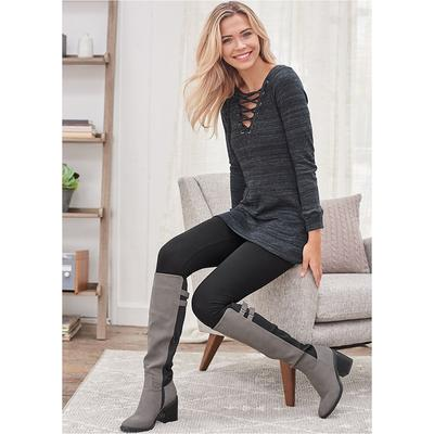 """Lace UP French Terry Dress Loungewear - Grey"""