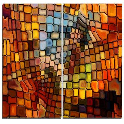 DesignArt Dreaming of Stained Glass Abstract 2 Piece Grap...