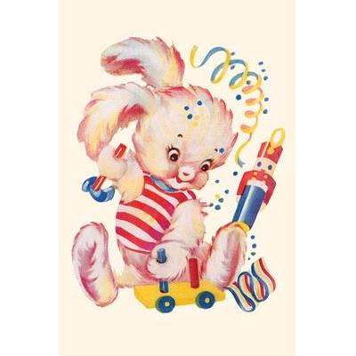 Buyenlarge Toy Rabbit at Play' Painting Print 0-587-27672-x