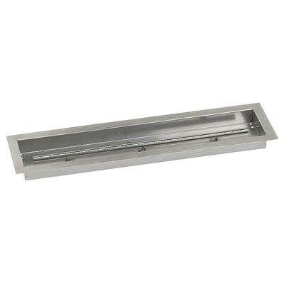 American Fireglass Linear Stainless Steel Drop In Fire Pit Pan with Spark Ignition Kit, As Shown