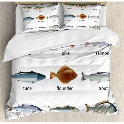 Ambesonne Ocean Animal Group of Fish with Perch Tuna Pike Flounder Mackerel Trout Aquatic Artwork Duvet Set nev_21269_ Size: King
