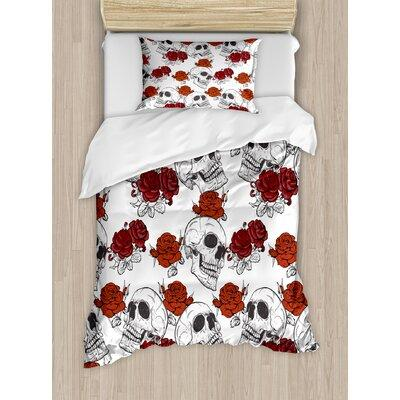 Ambesonne Skull Decorations Retro Gothic Dead Skeleton Figures with Rose Halloween Spooky Trippy Romantic Duvet Set nev_21369_ Size: Twin