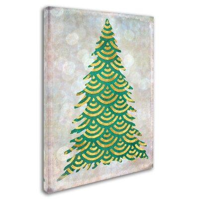 The Holiday Aisle 'Decorated Green and Gold Xmas Tree' Gr...