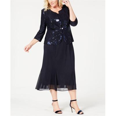 Plus Size Sequined Chiffon Dress And Jacket - Blue - Alex Evenings ...