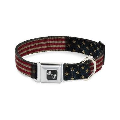Buckle-Down Vintage US Flag Seatbelt Buckle Dog Collar, S...