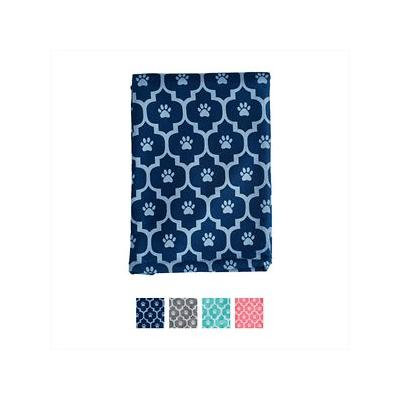 Bone Dry Printed Moroccan Microfiber Dog & Cat Bath Towel, Navy