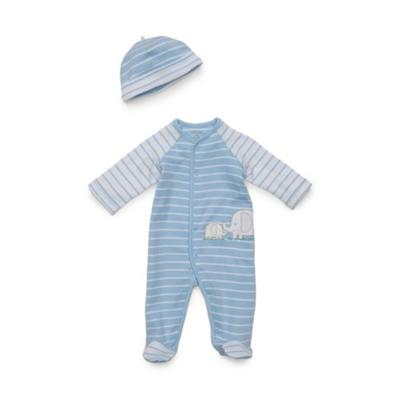 Little Me Light Blue Stripe Baby Boys 2-Piece Elephant Ha...