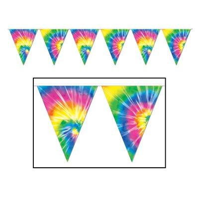 The Party Aisle 60's Tie Dyed Pennant Banner (Set of 3) W...