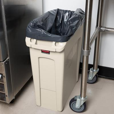 Rubbermaid 1971259 Beige 16 Gallon Slim Jim Trash Can