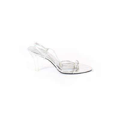 Nina Heels: Silver Solid Shoes - Size 8 1/2
