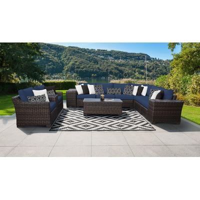 kathy ireland Homes & Gardens River Brook 11 Piece Outdoor Wicker Patio Furniture Set 11c in Midnight - TK Classics River-11C-Navy