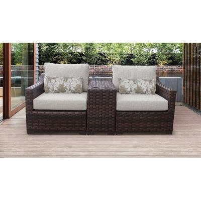 kathy ireland Homes & Gardens River Brook 3 Piece Outdoor Wicker Patio Furniture Set 03b in Truffle - TK Classics River-03B