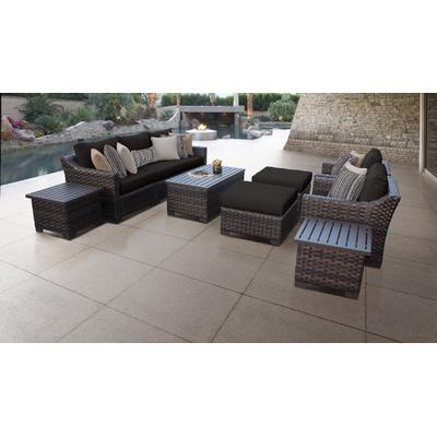 kathy ireland Homes & Gardens River Brook 10 Piece Outdoor Wicker Patio Furniture Set 10c in Onyx - TK Classics River-10C-Black