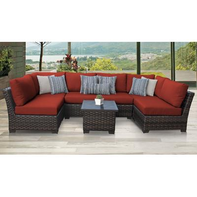 kathy ireland Homes & Gardens River Brook 7 Piece Outdoor Wicker Patio Furniture Set 07c in Cinnamon - TK Classics River-07C-Terracotta