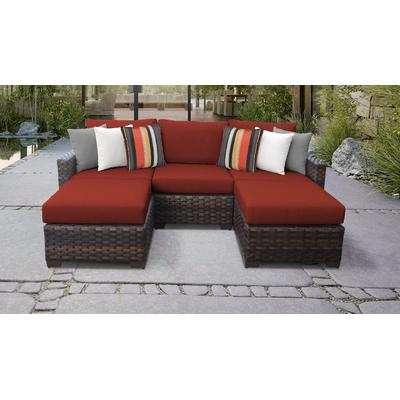 kathy ireland Homes & Gardens River Brook 5 Piece Outdoor Wicker Patio Furniture Set 05e in Cinnamon - TK Classics River-05E-Terracotta
