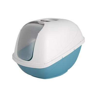 Petmate Basic Hooded Cat Litter Pan, Pearl White/Pearl Blue, Jumbo