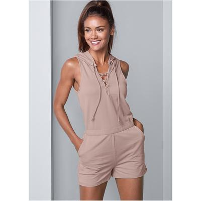 Lace UP Romper Loungewear - Brown