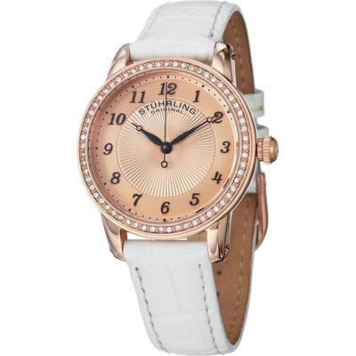 Stuhrling Original Classy Ladies Ultra Slim Quartz Watch, Rose Tone Case on White Alligator Embossed Genuine Leather Strap, Crystals on Rose Tone Beze