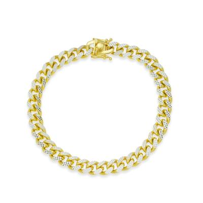 Men's Two-Tone Cuban Link Chain Bracelet in 18k Gold-Plated Sterling Silver and Sterling Silver - Gold