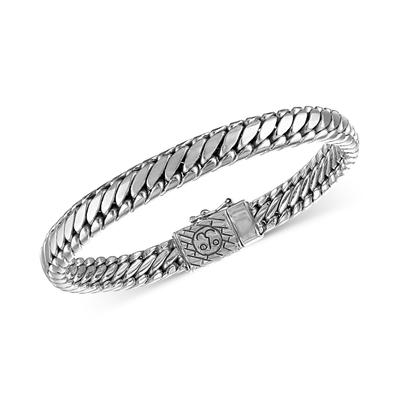 Esquire Men's Jewelry Heavy Serpentine Link Bracelet in Sterling Silver and 14k Gold-Plated Silver, Created for Macy's - Silver