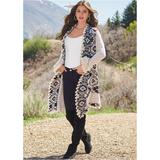 Mixed Print Duster Sweaters - Black/white