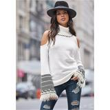 Plus Size Cold Shoulder Turtleneck Sweaters - White/black
