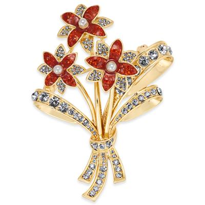 Charter Club Gold-Tone Crystal & Imitation Pearl Flower Bouquet Pin, Created for Macy's - Gold