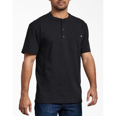 Dickies Men's Short Sleeve Heavyweight Henley - Black Size M (WS451)