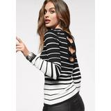 Back Detail Striped Sweater Sweaters - Black/white