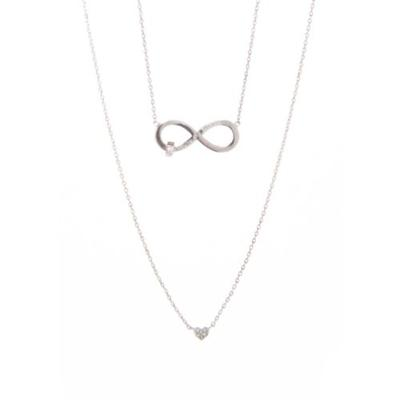 New Directions Silver Boxed Silver Tone Cubic Zirconia and Infinity Pendant Necklace Set