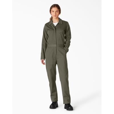 Dickies Women's Long Sleeve Cotton Coveralls - Moss Green Size S (FV483)