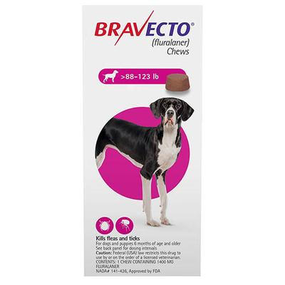 Bravecto For Extra Large Dogs 88-123lbs (Pink) 2 Chews - 014726000053