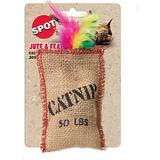 Ethical Pet Jute & Feather Sack & Catnip Cat Toy, 4-in