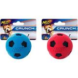 Nerf Dog Soccer Crunch Ball Dog Toy, Blue/Red, 2 count