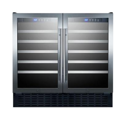 """Summit SWC3668 35 3/8"""" Two Section Wine Cooler w/ (2) Zones - 68 Bottle Capacity, 115v"""