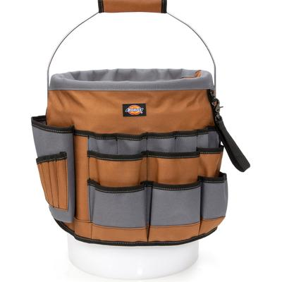 Dickies 35-Pocket Bucket Organizer With Drill Holster - Brown Duck Size One (L10152)