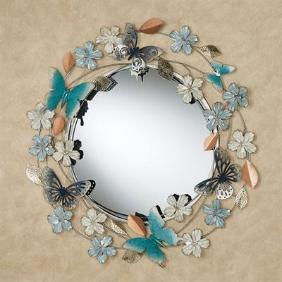 Butterflies and Florals Wall Mirror Blue , Blue