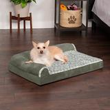 FurHaven Two-Tone Deluxe Chaise Orthopedic Dog Bed w/Removable Cover, Dark Sage, Medium